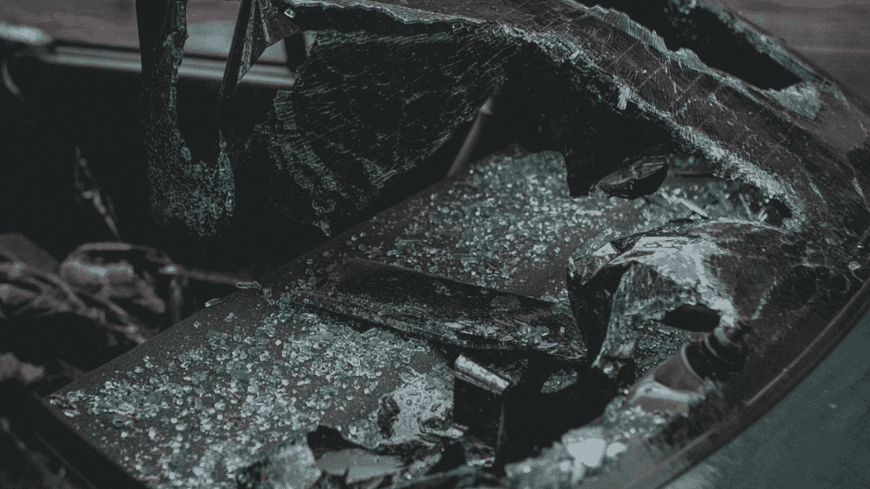 Junk Car's Window Smashed