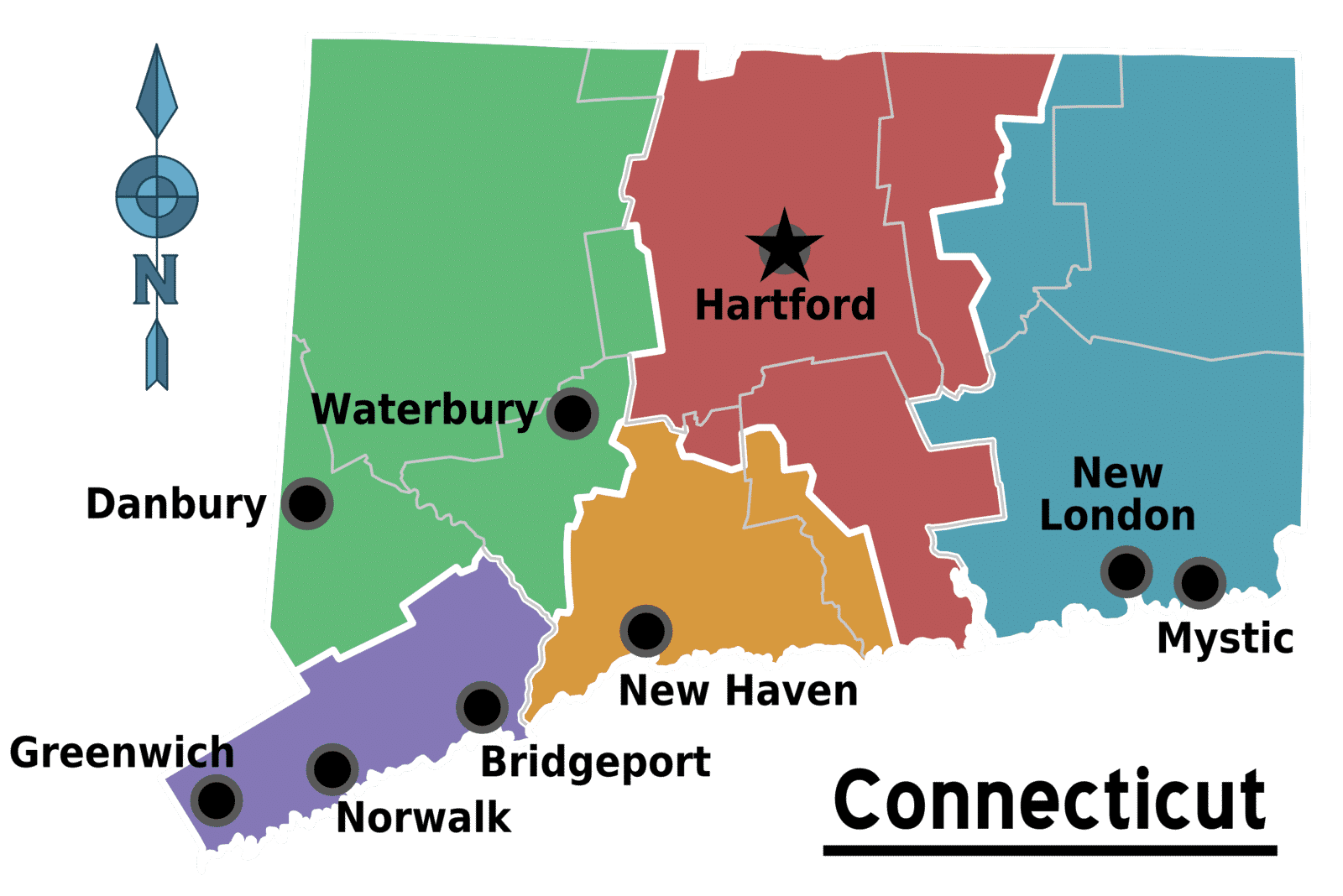 Map of Connecticut's Major Cities