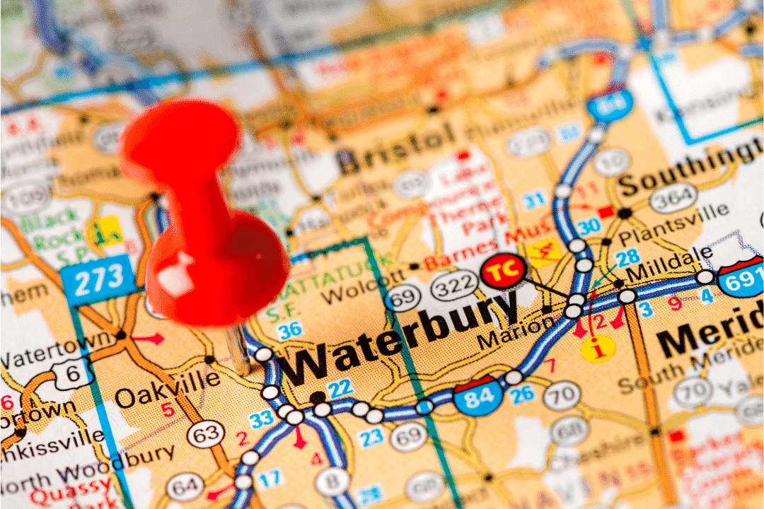 Waterbury Marked On A Map